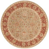 Della Handmade Floral Taupe/ Red Area Rug (8' X 8') - 8' x 8'