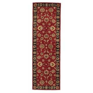 "Della Handmade Floral Red/ Black Area Rug (2'6"" X 6')"