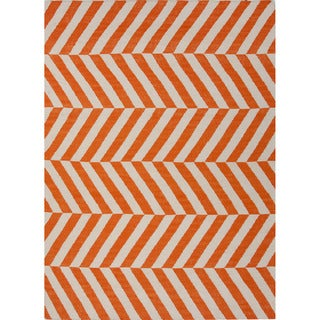 Handmade Flat-weave Stripe-pattern Red/ Orange Area Rug (3'6 x 5'6)