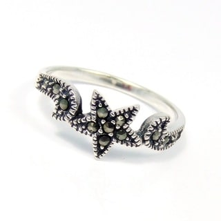 Handmade Captivating Star Marcasite Gemstone .925 Sterling Silver Ring (Thailand)