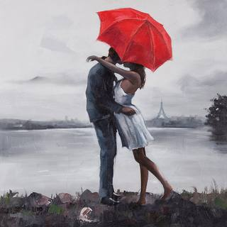 Ren Wil Giovanni Russo 'Kissing in the Rain' Hand-painted Canvas Art