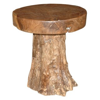 Decorative Brown Rustic Transitional Natural Round End Table