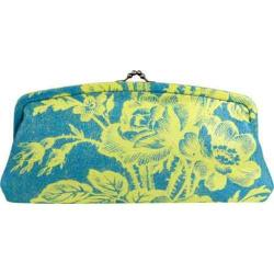 Women's Amy Butler Linen Cameo Clutch Cabbage Rose Turquoise