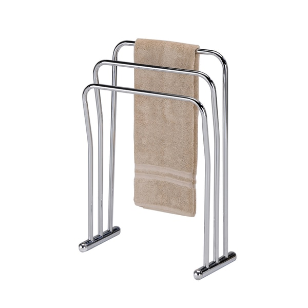 Chrome Finish Metal Towel Bathroom Quilt 3-Bar Rack Stand