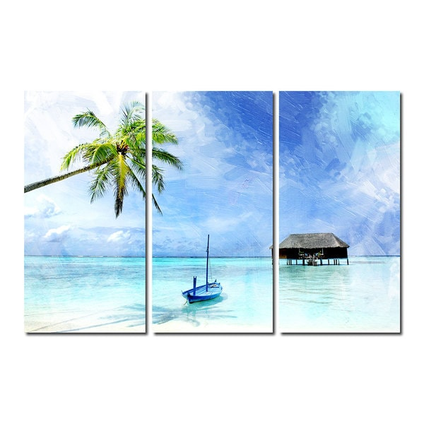 Ready2hangart Tropical 3 Piece Gallery Wrapped Canvas