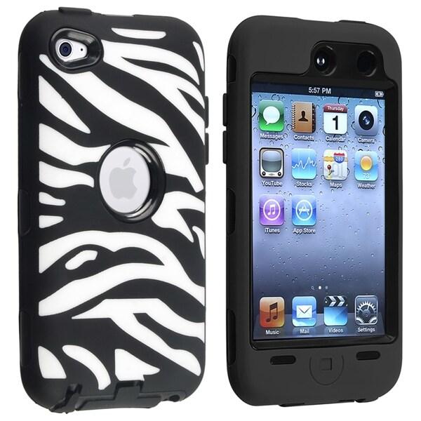 INSTEN Black Hard Plastic/ Black Zebra Hybrid iPod Case Cover for Apple® iPod touch 4