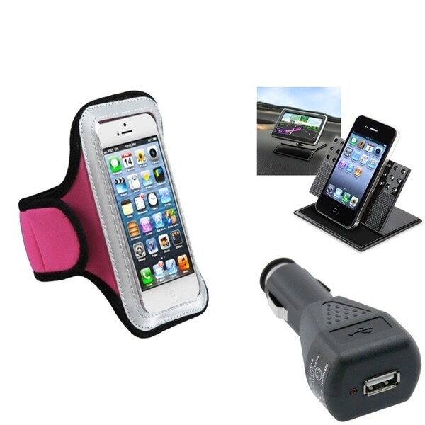BasAcc Car Charger/ Dashboard Holder/ Armband Case for Apple iPhone 5