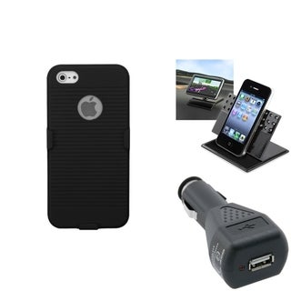 INSTEN Car Charger/ Dashboard Holder/ Holster Phone Case for Apple iPhone 5/ 5S/ 5C/ SE