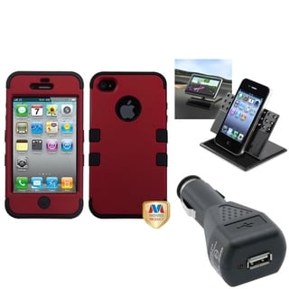INSTEN Car Charger/ Dashboard Holder/ TUFF Phone Case Cover for Apple iPhone 4/ 4S
