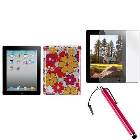 INSTEN Summer Bloom Tablet Case Cover/ Stylus/ LCD Protector for Apple iPad 2/ 3/ 4