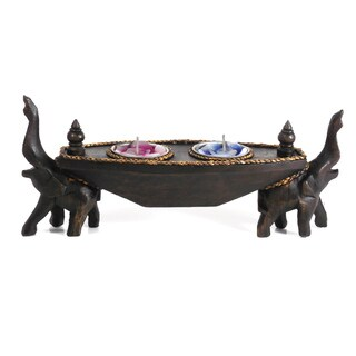 Handmade Two Opposing Elephants Carved Rain Tree Candle Holder (Thailand)