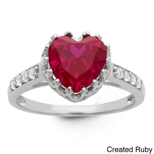 Gioelli Tiara Collection Silver Heart Gemstone and White Topaz Crown Ring