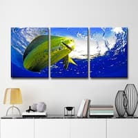 Chris Doherty 'Mahi' Canvas Art 3-piece Set - Blue