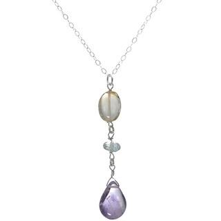 Ashanti Sterling Silver Amethyst, Citrine and Aquamarine Multi Gemstone Dangle Handmade Pendant (Sri Lanka)