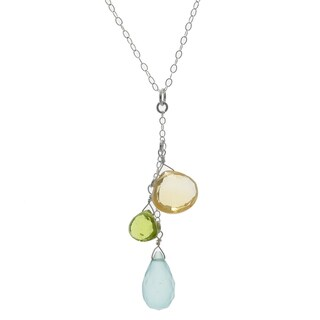 Ashanti Sterling Silver Aqua Chalcedony, Citrine and Peridot Briolette Gemstone Dangle Handmade Pendant (Sri Lanka)