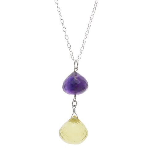 Handmade Ashanti Sterling Silver African Amethyst and Tangy Lemon Quartz Faceted Briolette Dangle Handmade Pendant (Sri Lanka)