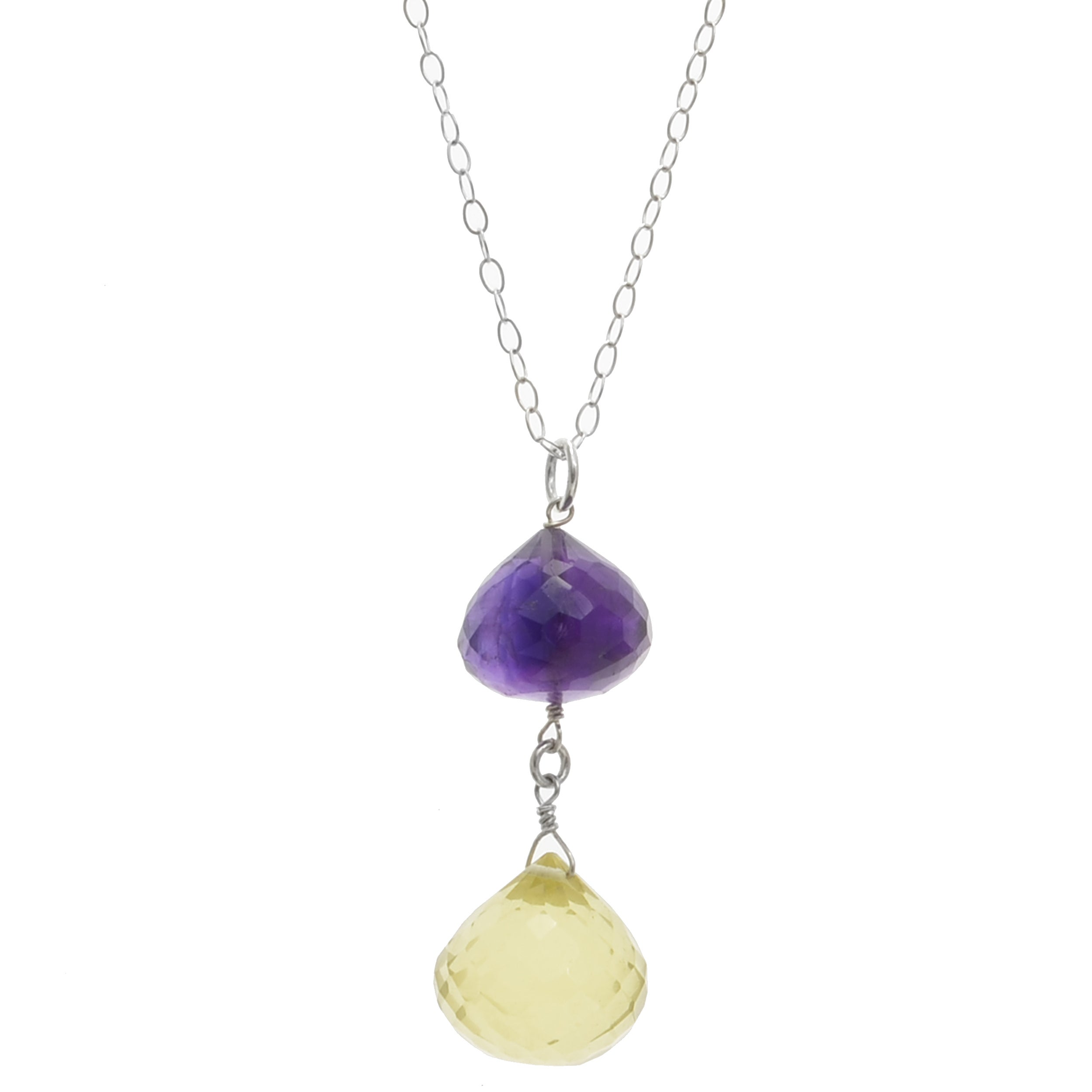 14K Yellow Gold Gemstone Necklace with Lemon Topaz Dangling 18 Inches