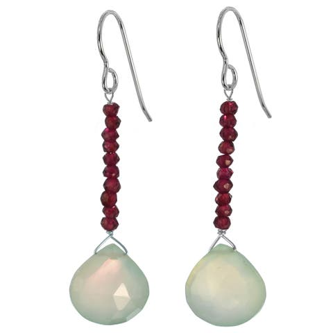 Light Green Chalcedony and Rhodolite Garnet Dangle Handmade Earrings