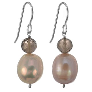 Ashanti Sterling Silver Pink Freshwater Pearl and Smokey Quartz Faceted Briolette Dangle Handmade Earrings (Sri Lanka)