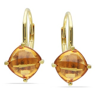Miadora Yellow Plated Silver 4ct TGW Citrine Leverback Earrings