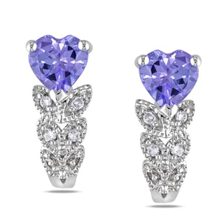 Miadora 10k White Gold Tanzanite and Diamond Heart Earrings