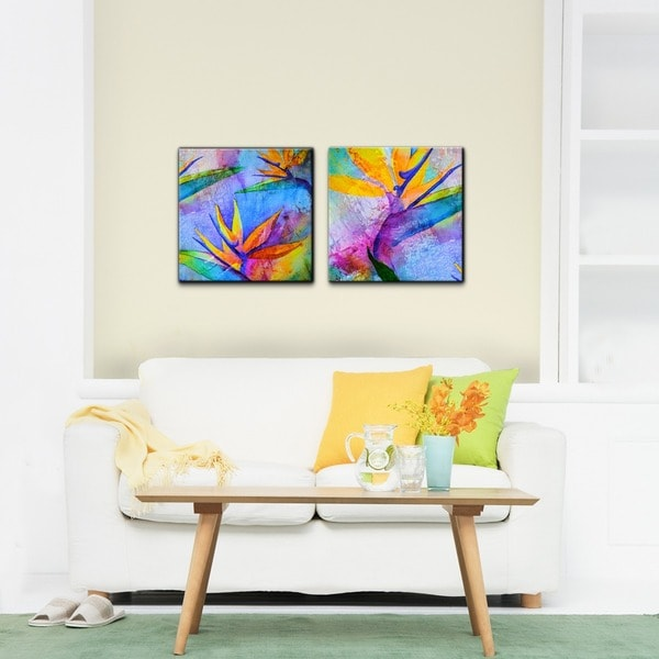ready2hangart 39 tropical birds of paradise 39 canvas wall art. Black Bedroom Furniture Sets. Home Design Ideas