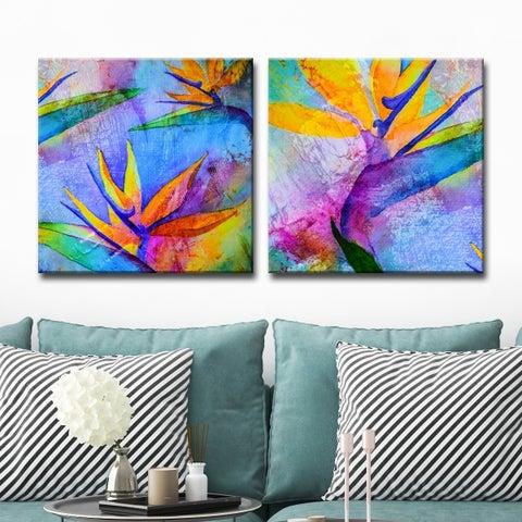 Ready2HangArt 'Tropical Birds of Paradise' Canvas Wall Art (Set of 2) - Multi-color