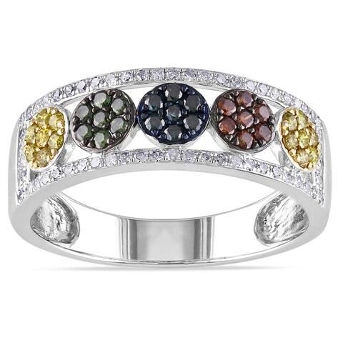 Miadora Sterling Silver 1/2ct TDW Multicolored Diamond Band-style Ring