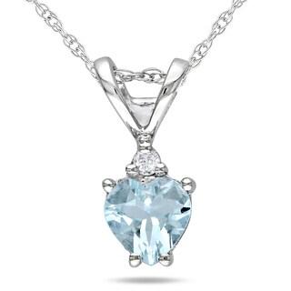 Miadora 10k White Gold Aquamarine and Diamond Heart Necklace
