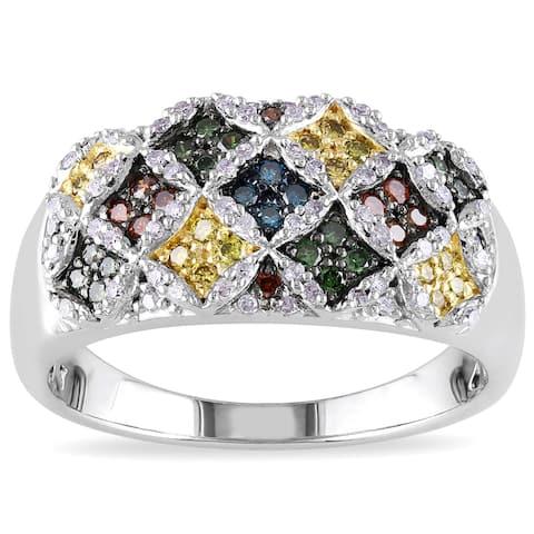 Miadora Sterling Silver 1/2ct TDW Multicolored Diamond Composite-style Ring