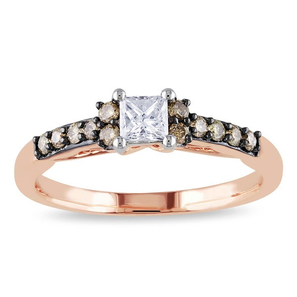 Miadora 14k Rose Gold 1/2ct TDW Brown and White Diamond Engagement Ring