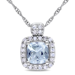 Miadora 10k White Gold Aquamarine and 1/10ct TDW Diamond Necklace (G-H)