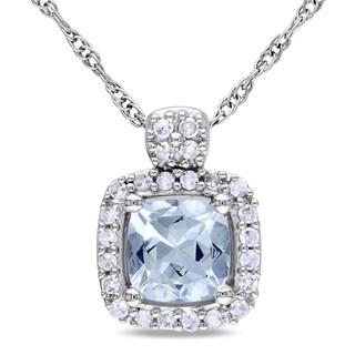 Miadora 10k White Gold Aquamarine and 1/10ct TDW Diamond Necklace (G-H)