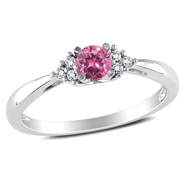 Miadora 14k White Gold 1/4ct TDW Pink and White Diamond Promise Ring