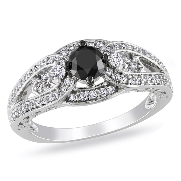 Miadora 14k White Gold 3/4ct TDW Black and White Diamond Ring