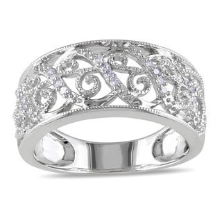 Miadora 14k White Gold 1/10ct TDW Diamond Filigree Lace Ring