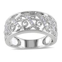 Miadora 14k White Gold 1/ 10ct TDW Diamond Filigree Lace Ring