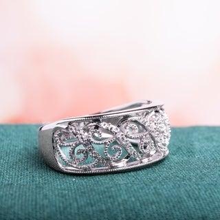 Miadora 14k White Gold 1/ 10ct TDW Diamond Filigree Lace Ring