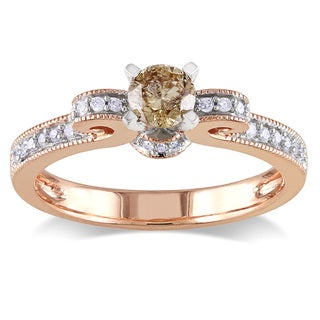 Miadora 14k Rose Gold 1/2ct TDW Brown and White Diamond Ring (I2-I3)