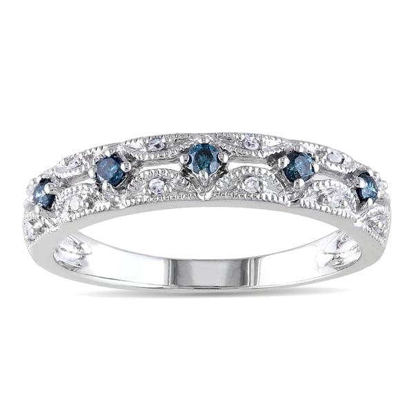 Miadora 10k White Gold 1/5ct TDW Vintage Blue and White Diamond Ring