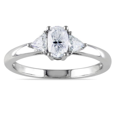 Miadora Signature Collection 14k White Gold 3/4ct TDW Fancy Cut Oval Diamond Ring