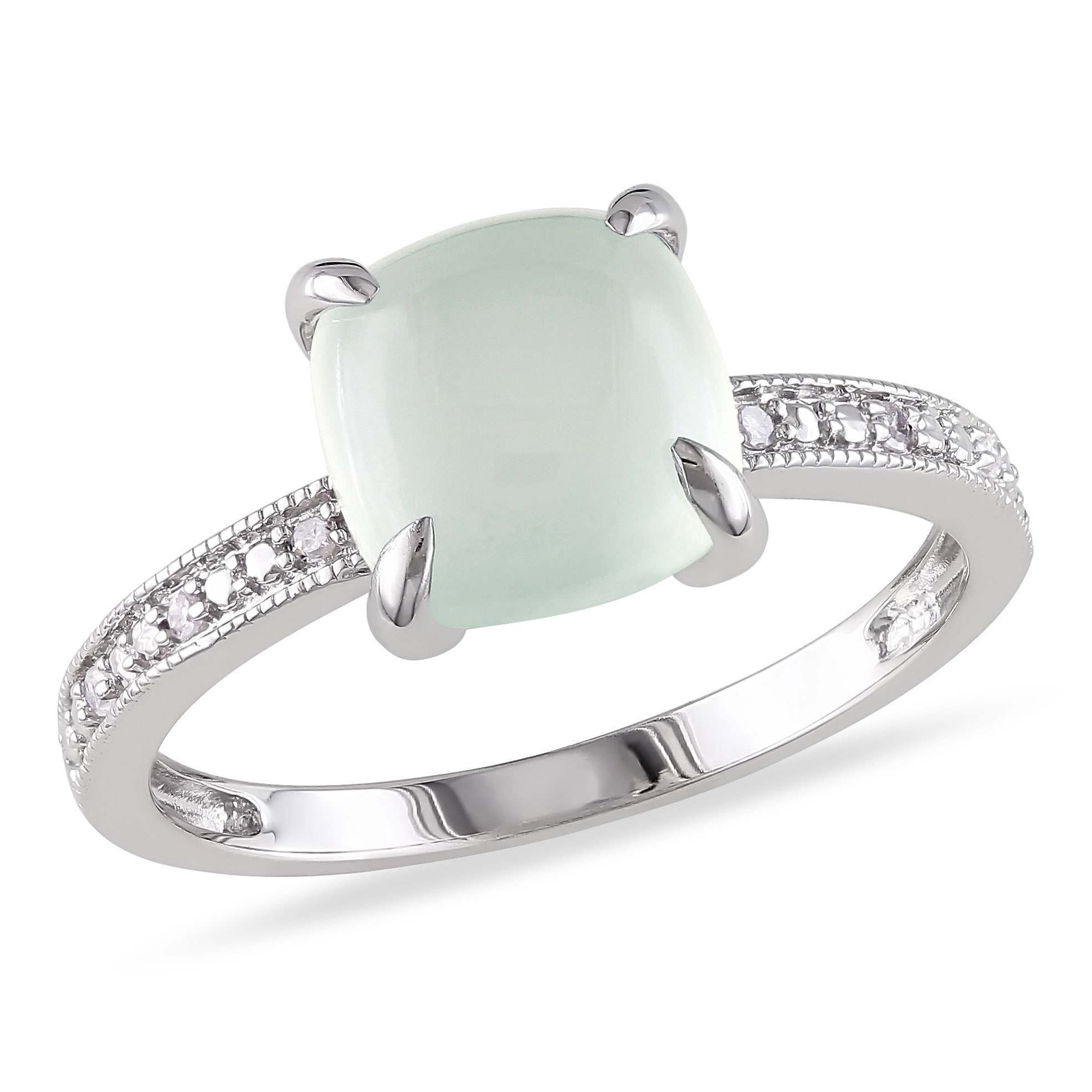 Miadora 10k White Gold 1 3/4ct Milky Aquamarine and Diamond Ring