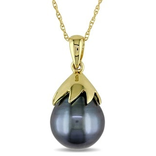 Miadora 10k Yellow Gold Tahitian Black Pearl Necklace (9.5-10 mm)