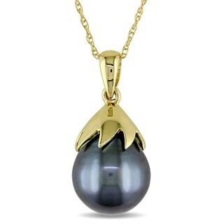 Miadora 10k Yellow Gold Tahitian Black Pearl Necklace (9.5-10 mm)