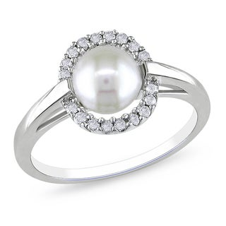 Miadora 10k White Gold Cultured Freshwater Pearl and 1/6ct TDW Diamond Ring (H-I, I2-I3)