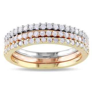 Miadora Sterling Silver Stackable Diamond Band 3-piece Set