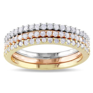 Miadora Sterling Silver Stackable Diamond Band 3 Piece Set