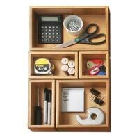 Seville Classics 5-Piece Bamboo Storage Box Drawer Organizer Set