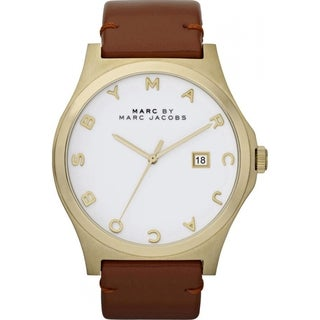 Marc Jacobs Women's MBM1213 'Henry' White Dial Brown Leather Watch