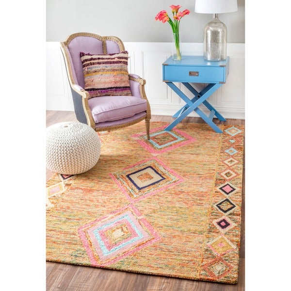 nuLOOM Handmade Looped Moroccan Wool Rug Multi (5' x 8')